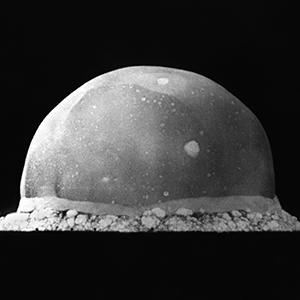 The Trinity explosion on July 16, 1945 in the desert near Alamogordo, New Mexico, 16 milliseconds after detonation.