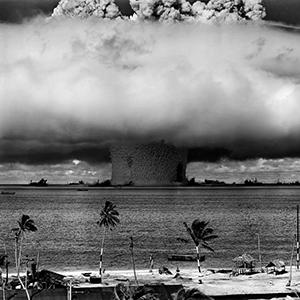 "On July 25, 1946, the U.S. Army detonated the ""Baker"" nuclear test bomb with a yield of 21,000 tons of TNT equivalent underwater near the Bikini Atoll. 106 nuclear tests were carried out between 1946 and 1962 on the Marshall Islands. Photo: © U.S. Department of Defense"